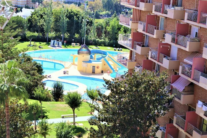 """Nice viwe from balcony. You can see """"Sea and pools and lake """""""