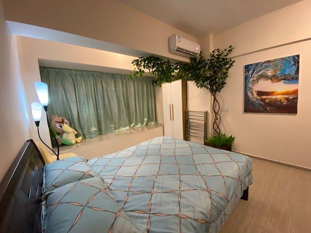 实木大床,鸭绒被,鸭绒枕,纯棉床品,冷暖空调