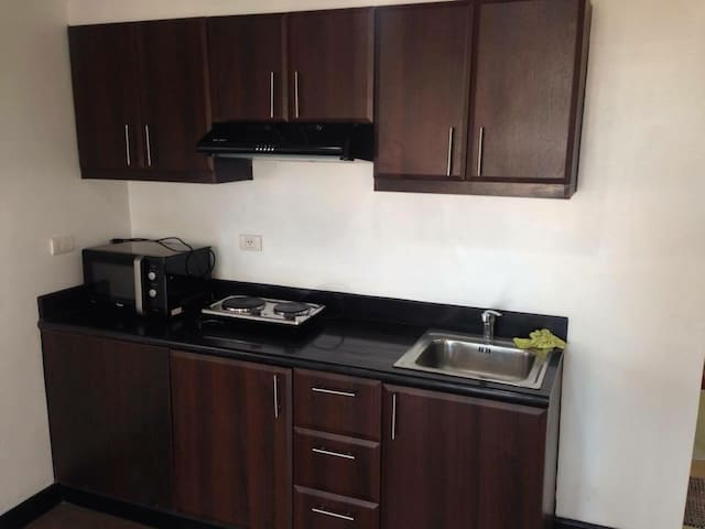 kitchen comes with microwave, induction cooker, rice cooker, range hood and assorted cooking wares