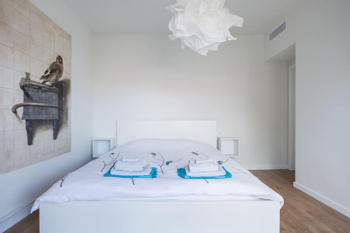 Inside room 2, kingsize bed