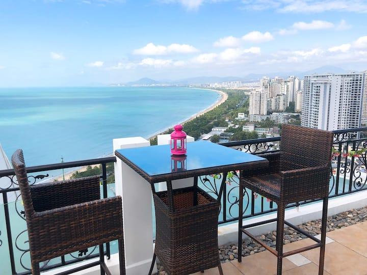 三亚湾耶梦长廊超大露台270度一线高空豪华海景俯瞰三亚湾全貌220平(含露台观海台)步行2分钟到海边