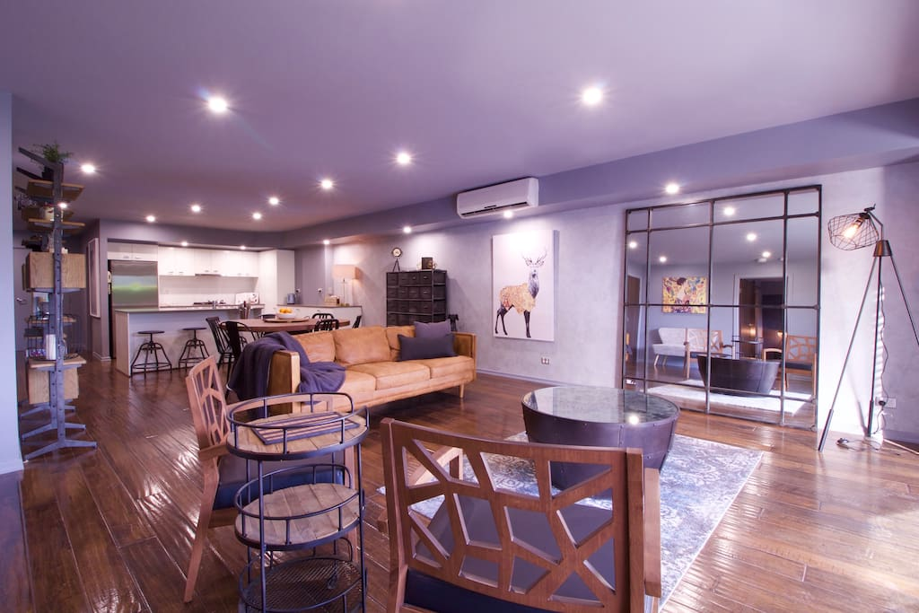 Spacious apartment with trendy loft styling
