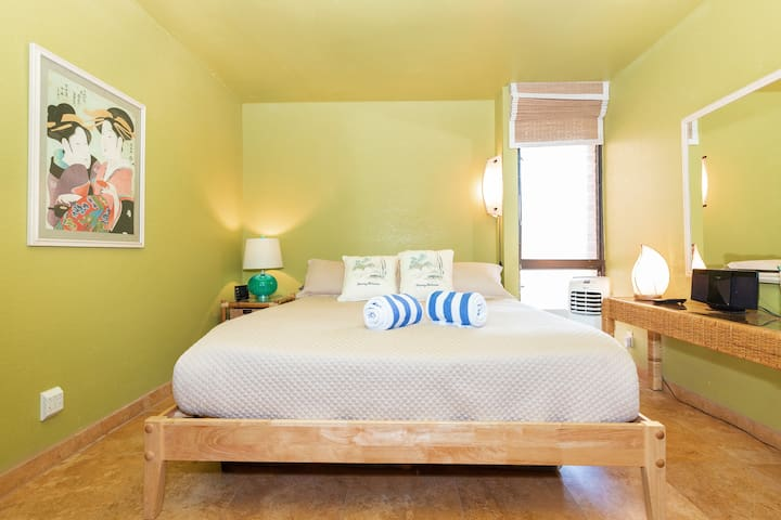 Bedroom features a King size bed and an air conditioner