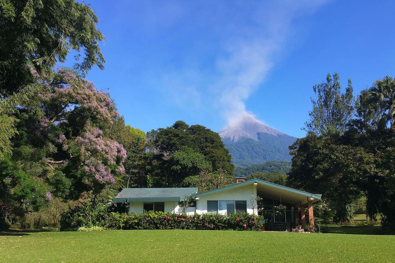 The cozy Casa del Lago, with Volcán de Fuego in the backdrop