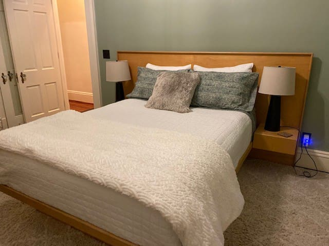 Queen bed w/Mid-Century Modern frame