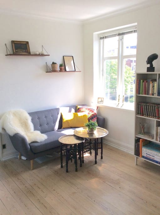 Relaxing sofa area with a beautiful view of Aarhus' charming old court yards. Next to the open living room area.