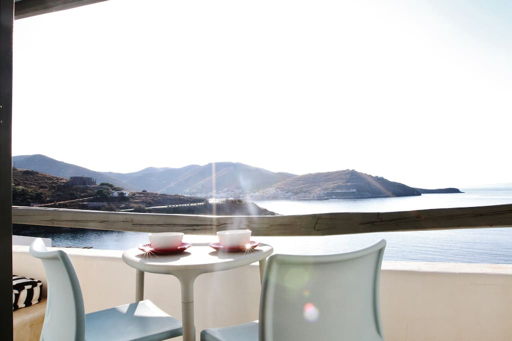 Bedroom balcony - enjoy the unlimited view of the Aegean sea