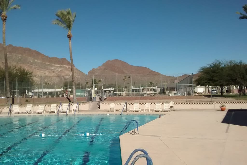 One of TE's two pools, with pickleball/Tennis courts beyond
