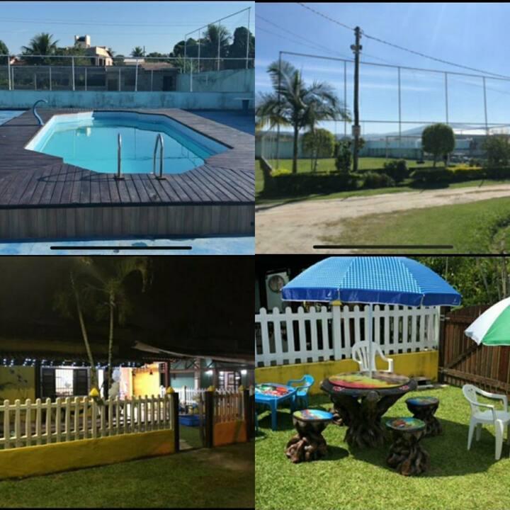 Piscina, campo de futebol, praias e cachoeira