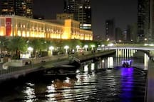 This  is   Al qasba canal water  the most beautiful canal  in UAE  you can enjoy all international restaurants varsities of food  the  canal  it's just under  the property building  5  second
