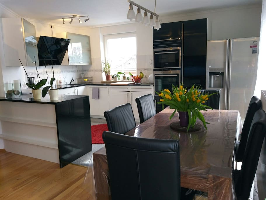 Kitchen with a beautiful wooden table