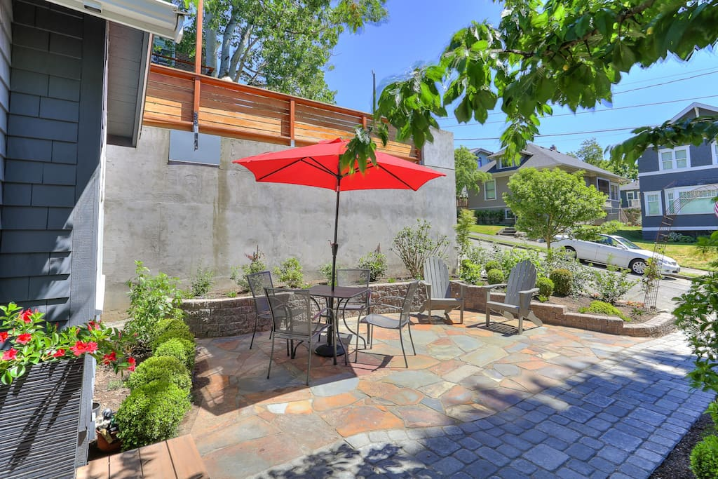 Front patio provides lots of outdoor space for dining and relaxing.