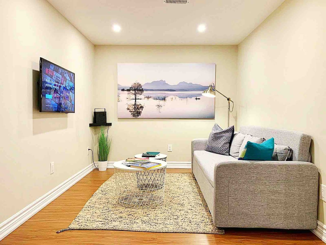 Living room features smart tv, pull out sofa and Bluetooth speaker
