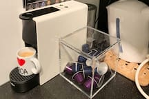 New nespresso machine with free pods during your stay!