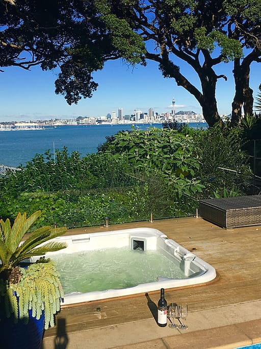 Spa pool with views to the City