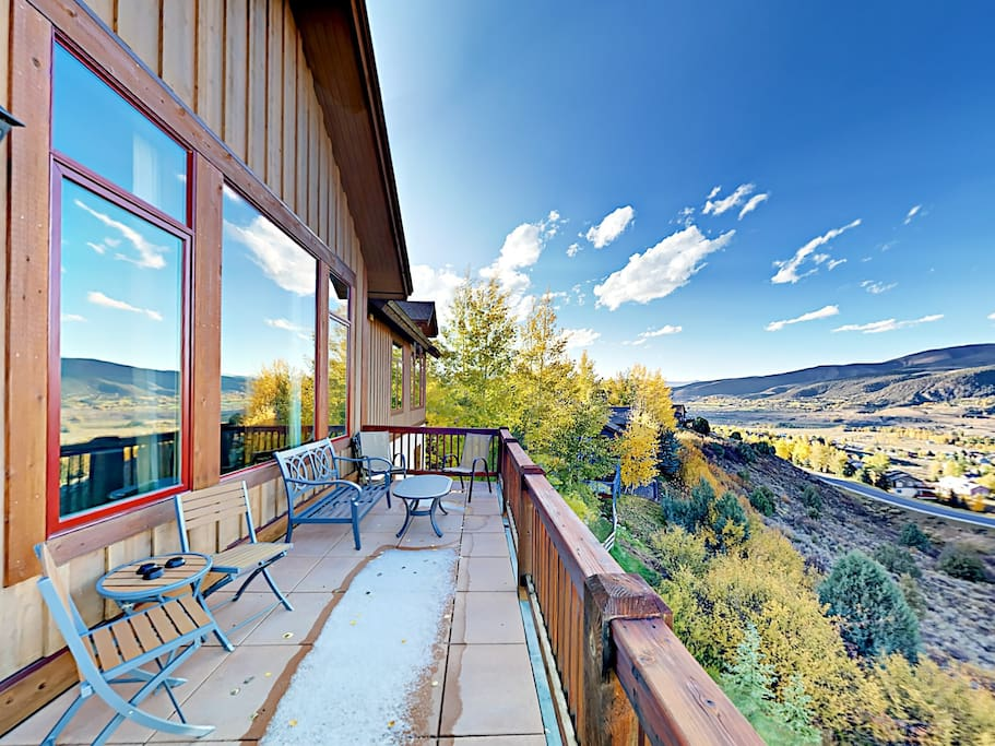 Take in stunning views of the surrounding rolling hills from the deck.