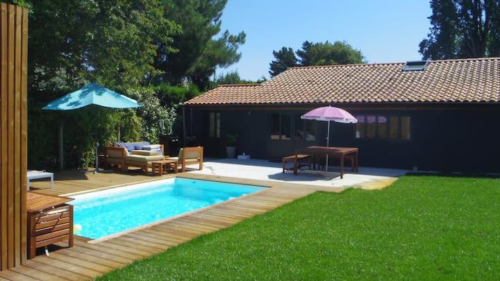 Maison cosy à Capbreton avec piscine chauffée