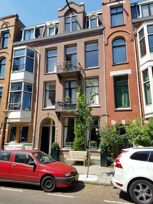 Newly painted building in chic oud zuid neighborhood