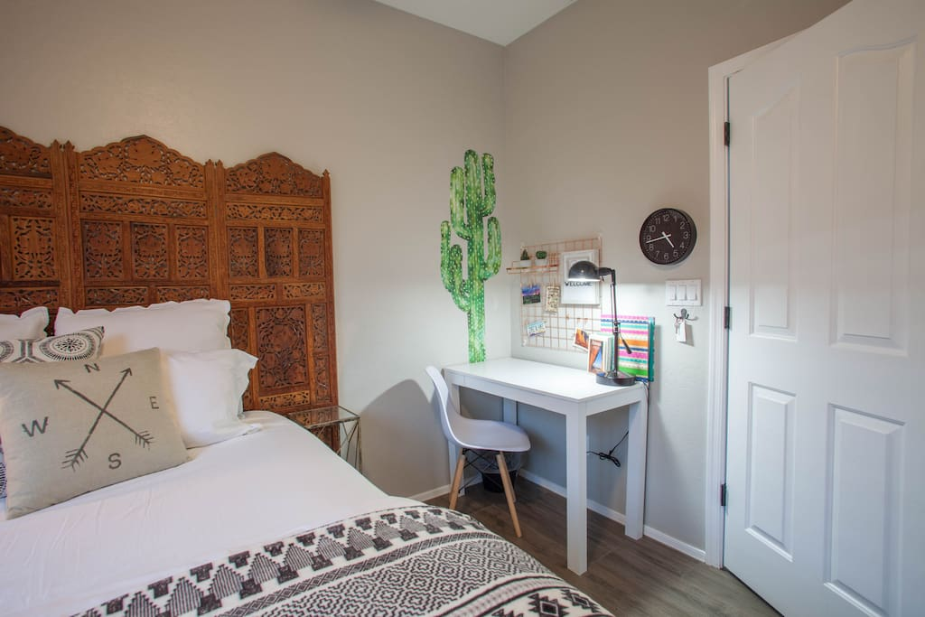 Enjoy the boho minimalist vibe to the decor and furnishings while knowing all amenities you would find in a hotel room are here for you.