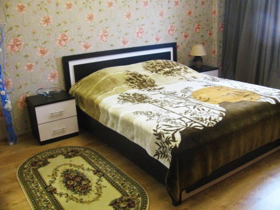 Новая спальня, ортопедический матрац, телевизор.