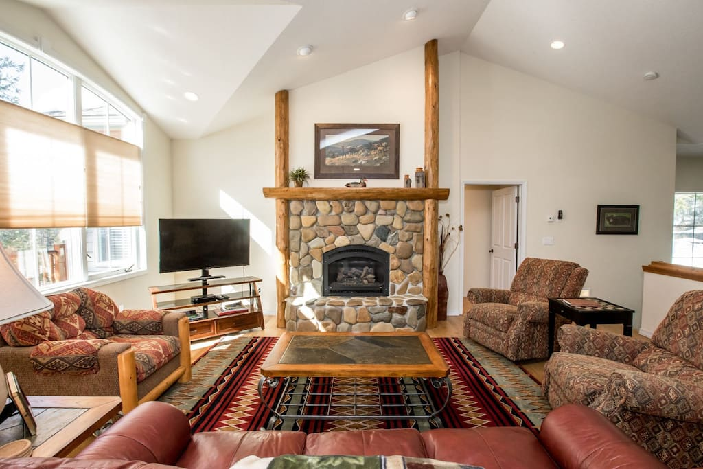 Huge living room with beautiful fire place