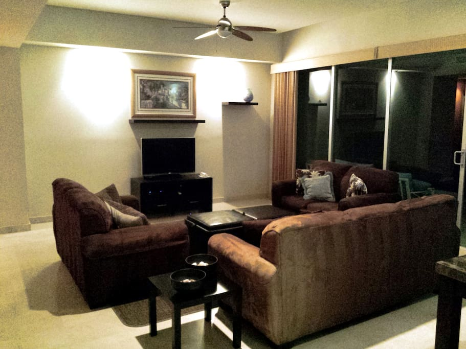 Living room with Direct TV, HBO, free phone to US, DVR and lots of room including a queen sofa bed.