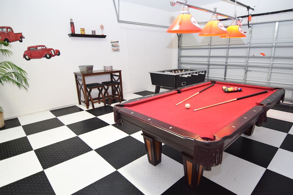 Fantastic games room with flat screen TV, pool table and table football