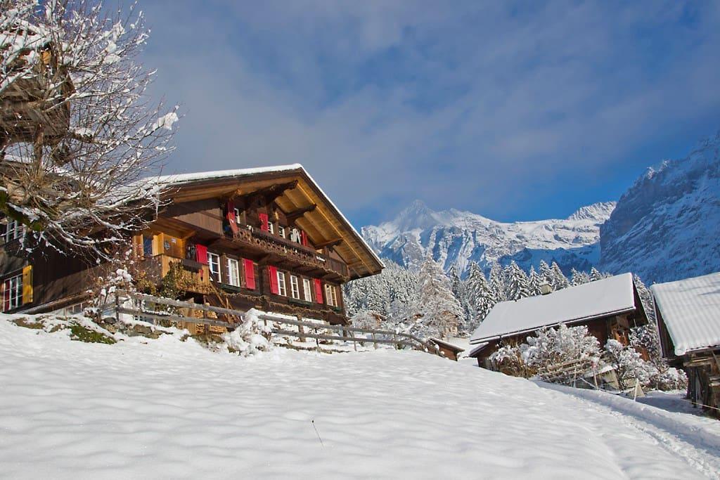 Holzchalet im Winter