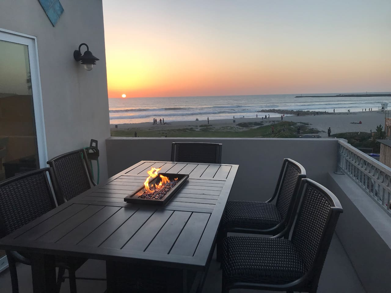 Watch the sunset from your own private deck with a fire pit.