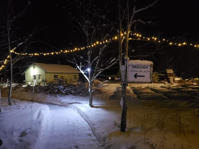At night the pathway from the parking area is lit with string lights and motion sensor lights for your convenience