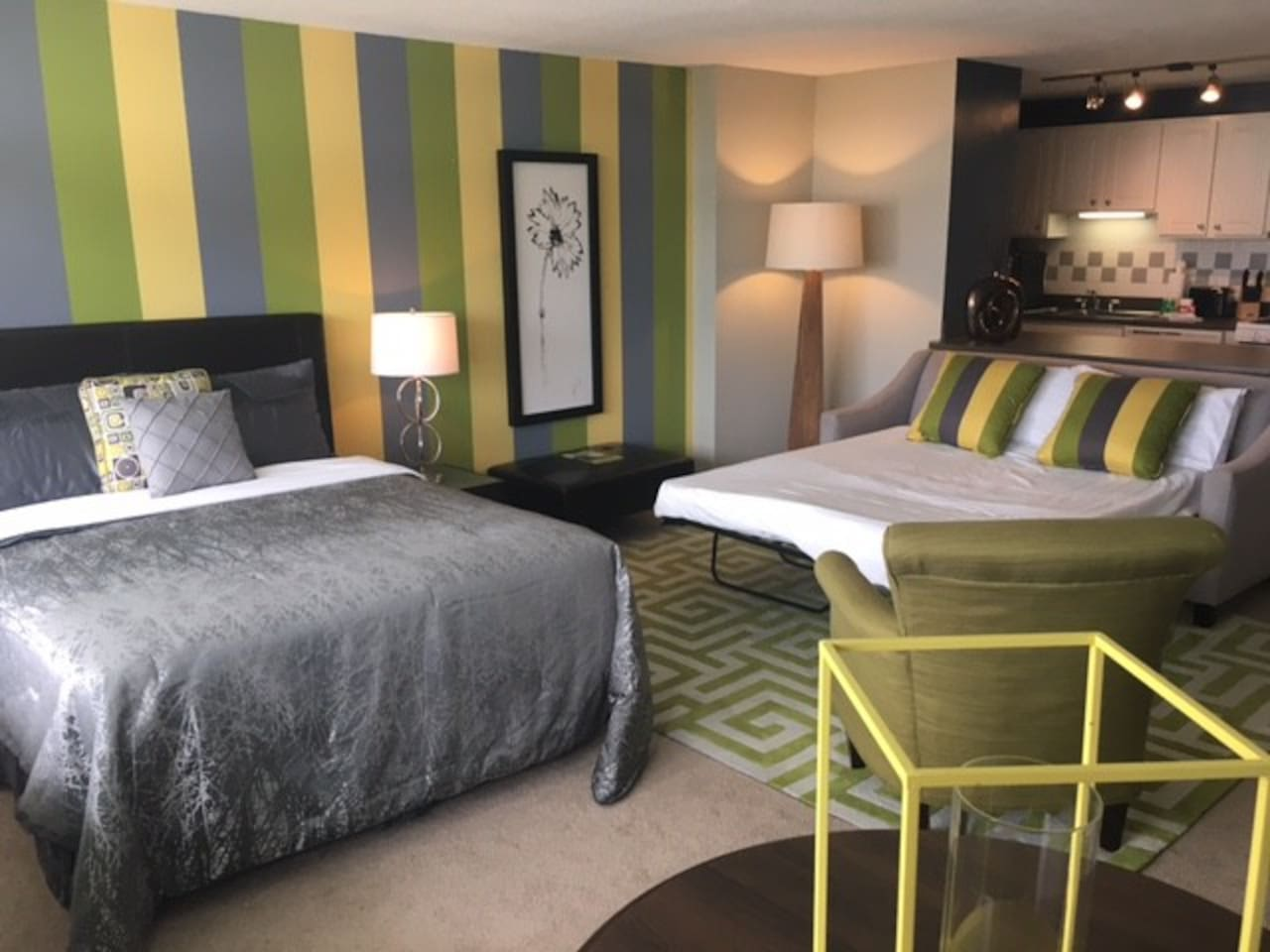 Suite features a queen size bed and queen size pull out.