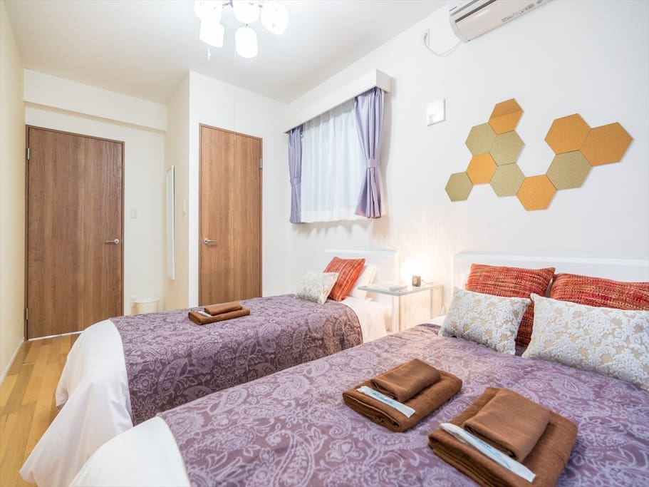 3F: Double bed and single bed