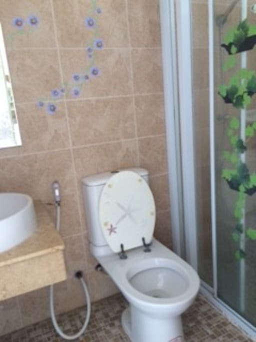 Clean Bathroom and toilets with Shampoo, Shower Gel, Hair dryer, Toothpaste and hand wash.