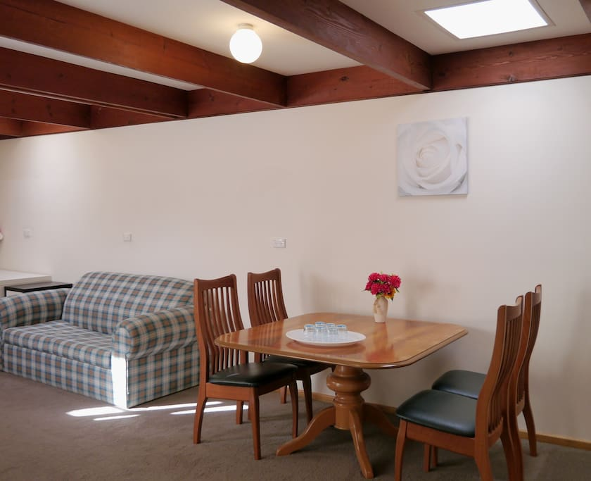 Large Dining Table and sofa.