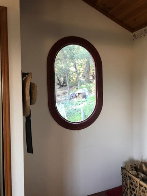 Upstairs Tree House Room #3 antique window.