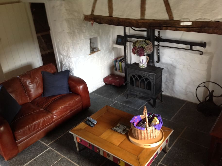 Living room with log burning stove, free wifi, cable to