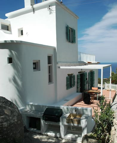 A view of the Villa Mare looking  towards the sea. Note the new bbq and seating area!