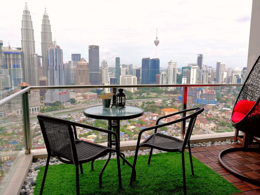 Private balcony view of KL
