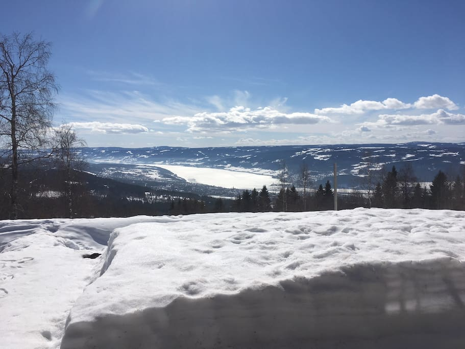 Lovely view of Lillehammer town and lake Mjøsa