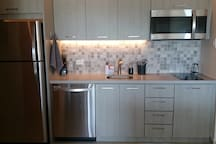 Kitchen with microwave/convection combination oven and electric cooktop (2 burners).