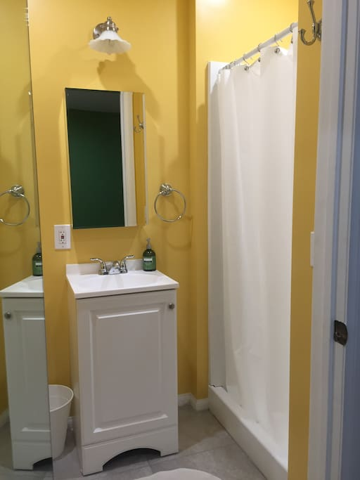 Private bathroom with shower. Towels, soap, and shampoo provided.