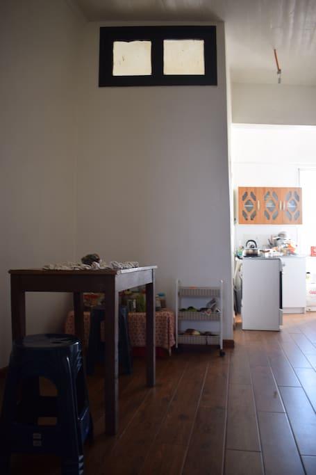 Amplio espacio de la cocina