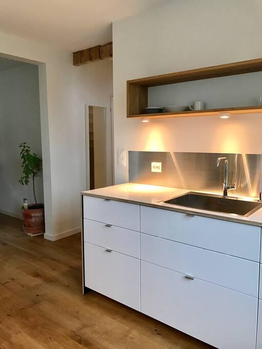 Kitchen with stainless steel backsplash, solid oak floor (whole tree)