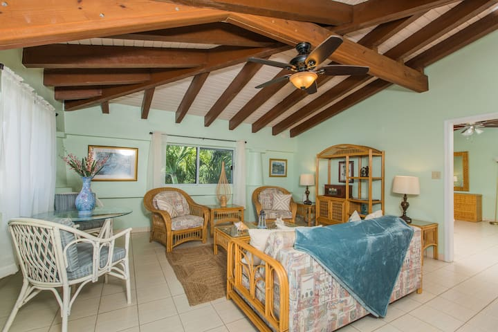 HBH Frangipani Suite > Spacious living room > Large couch (queen-size pull-out) > Island Views
