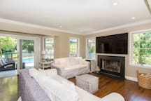 "Living Room w/fireplace & 75"" Smart TV"