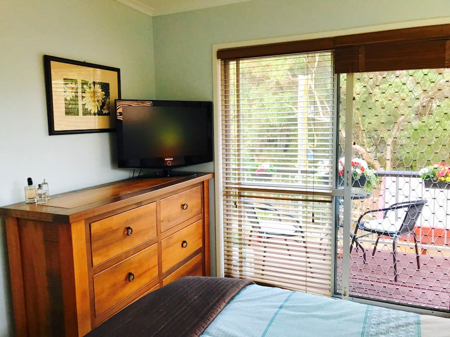 Your private room with TV and a set of drawers for ample space