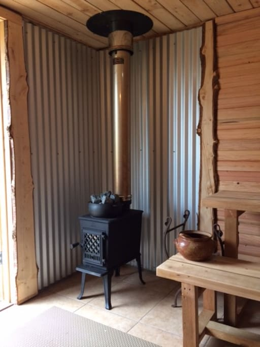 Wood fired Cedar Sauna with live edge Port Orford Cedar details