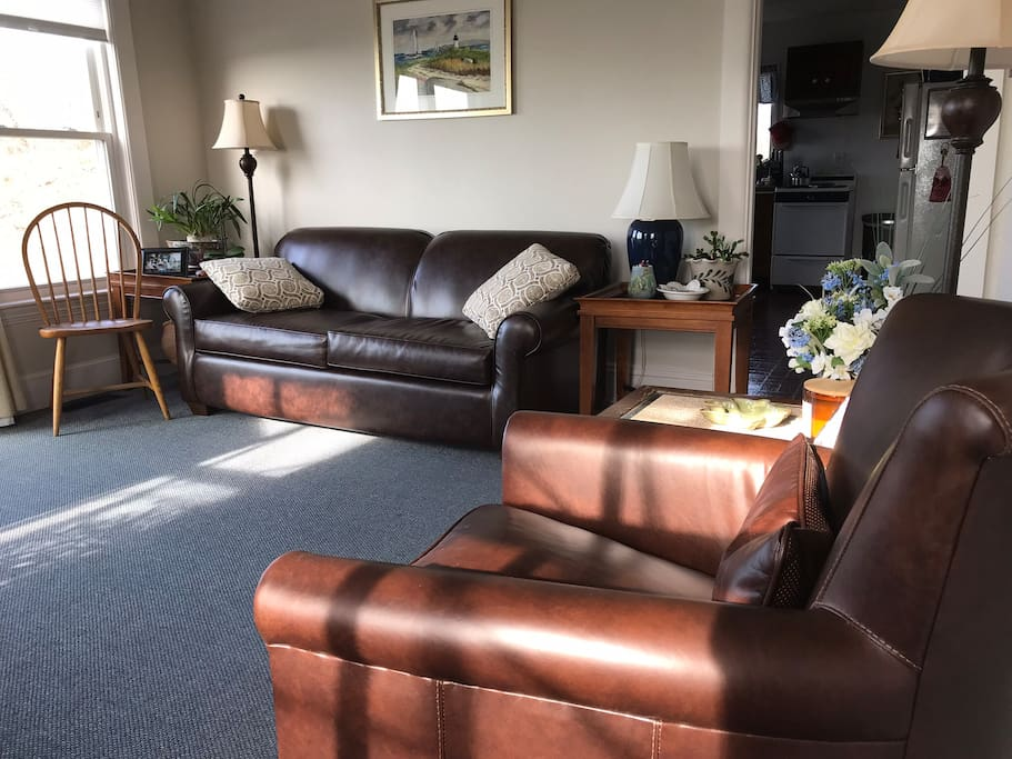 New leather full sized sleep sofa and new leather swivel chair