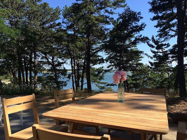 Beautiful views from three patios of the coastal inlet.