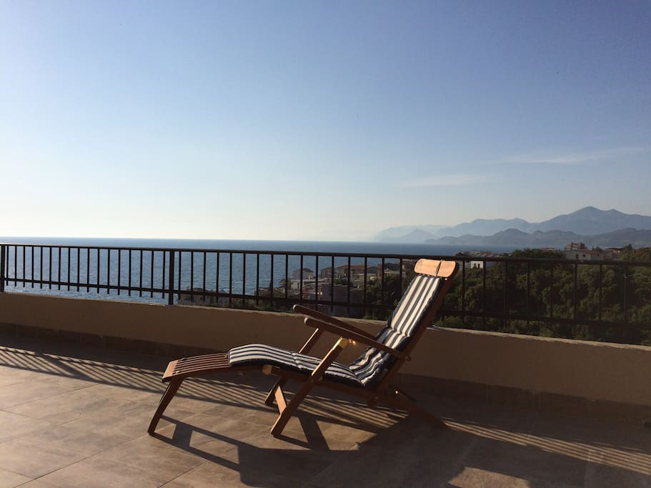 Terrace on the 1st floor with a stunning view on the entire Montenegro coastline